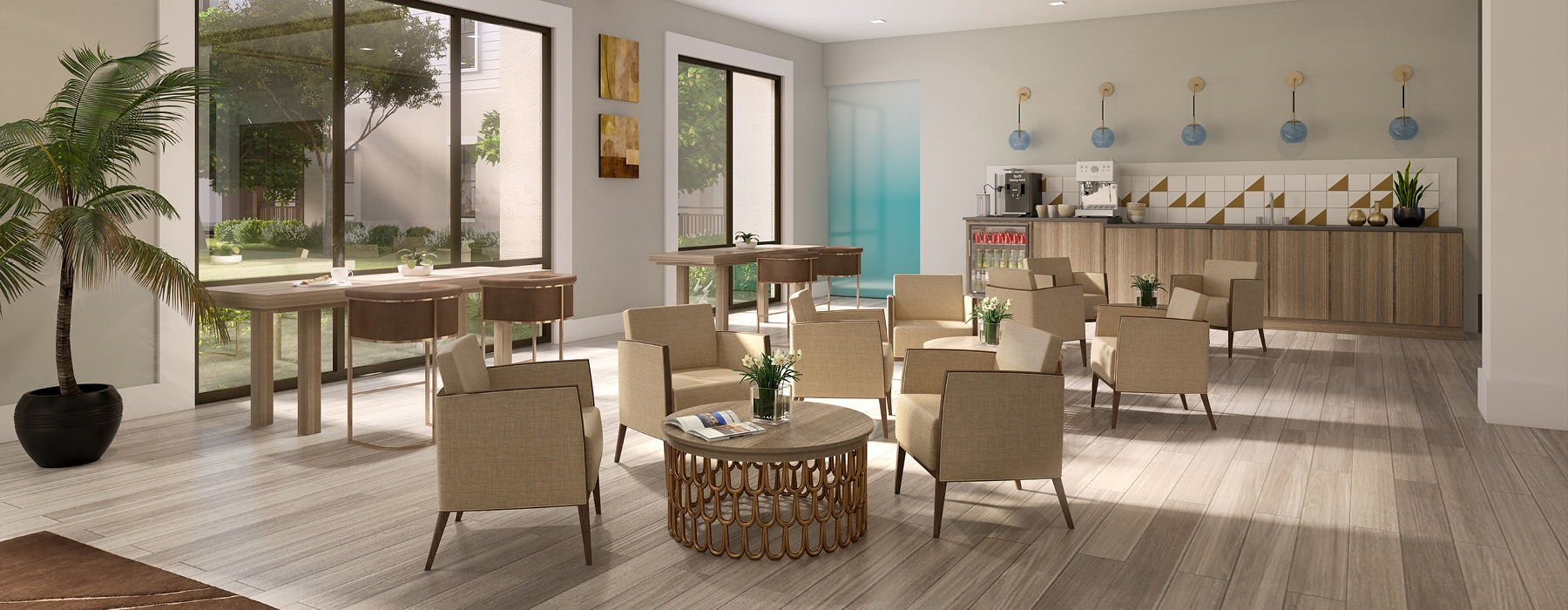 bright and open coffee area with tables and chairs